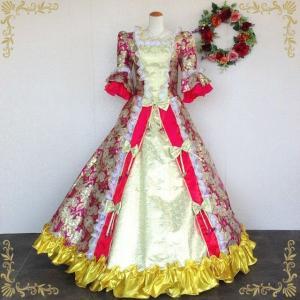 カラードレス9号・11号・15号中世貴族風お姫様ドレス ピンク×ゴールド イベン コスプレ ステージ衣装 プリンセスライン g2165|t-bright