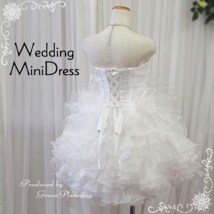 ウエディングドレス ミニドレス 結婚式 2次会 パーティドレス 人気  花嫁 オフホワイト リボン フリル/g2230-3|t-bright|03