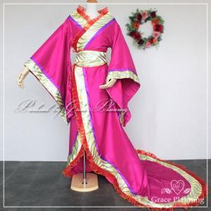 着物風アレンジドレス/和風ドレス/ カラオケ/発表会/ステージ衣装/ピンク系パープル/フリーサイズ/g2269rp/グレース企画 t-bright