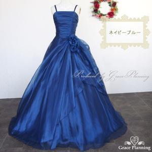 今だけ小物プレゼント カラードレス 紺色 演奏会 ロングドレス ネイビーブルー 発表会 ステージ衣装/g2323nv|t-bright