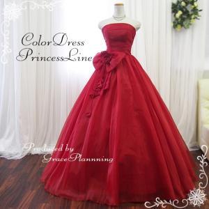 カラードレス ワインレッド 深紅 演奏会用ロングドレス プリンセスライン リボン g2695wr|t-bright