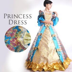 カラードレス 中世貴族風ドレス11号・13号・15・17号 お姫様ドレス 西洋風 舞台衣装 ステージ 演劇 声楽 オペラ コスプレ  水色×ゴールド 大きいサイズ /g346|t-bright