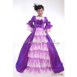 63e358ea819e8 サイズオーダー カラードレス お姫様ドレス 中世貴族風ドレス 舞台 ステージ 声楽 オペラ パープル 紫 5号・7号・9号〜21号・23号・25号  od-cxy1213