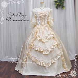サイズオーダー 貴族風お姫様ドレス クリームイエロー 5号〜25号 舞台 ステージ衣装 or-11248iv|t-bright