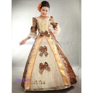 カラードレス 中世貴族風 お姫様ドレス プリンセスライン 舞台衣装 ステージ衣装 コスプレ Aラインロングドレス オレンジ×ゴールドs14431|t-bright