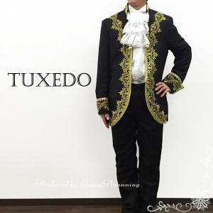 タキシード ブラック黒×ゴールド メンズ上下違い2点セット 紳士服 貴族風 王子様 ステージ衣装 T11608bk|t-bright