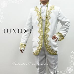 タキシード メンズ2点セット 紳士服 貴族風 王子様 舞台衣装 ステージ衣装 ホワイト×ゴールド 二次会 花婿 Lサイズ XLサイズ/T11608w|t-bright