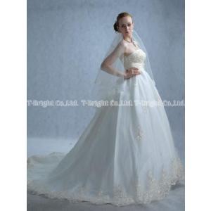 ウエディングドレス エンパイアライン ロングトレーン 結婚式 花嫁 二次会 ウェディングドレス オフホワイト 5号〜25号/tb058 サイズオーダー|t-bright
