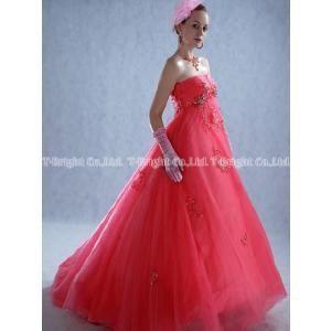 サイズオーダードレス/カラードレス ピンク系 エンパイアライン 二次会用ドレス 5号〜25号 tb079|t-bright