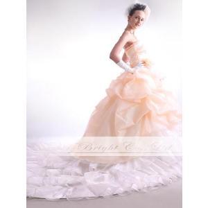 ウエディングドレス カラードレス ペールオレンジ ロングトレーン 結婚式 二次会 花嫁 お色直し 5・7・9・11・13・15・17・19・21・23・25号/tb167|t-bright