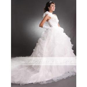豪華フリフリ ウエディングドレス ロングトレーン プリンセスライン  チャペル 教会 海外ウエディング tb202 サイズオーダー|t-bright