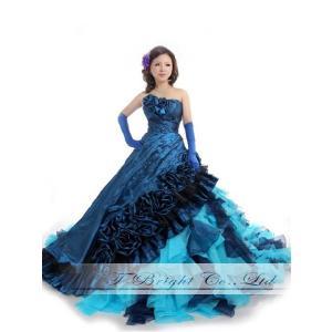 サイズオーダー ウエディングドレス カラードレス ロングトレーン ブルー系 5号〜25号 フォトウェディング tb480|t-bright