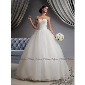 ウエディングドレス ウェディングドレス プリンセスライン ロングトレーン 二次会 結婚式 花嫁 披露宴 オフホワイト 白ドレス 5号〜25号/tb562|t-bright