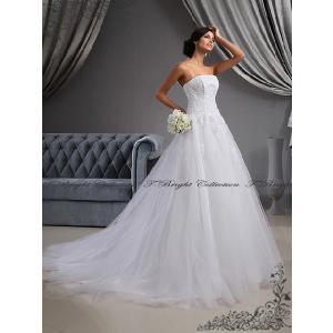 オーダー/ウエディングドレス 花嫁 二次会 結婚式 Aライン ロングトレーン 刺繍 綺麗 大きい・小さいサイズ 5号〜25号 ホワイトドレス 白/tb563|t-bright