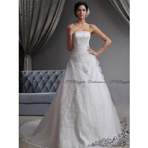 ウエディングドレス/ロングトレーン/Aライン/花嫁衣裳/オフホワイト/刺繍/tb566//サイズオーダードレス|t-bright