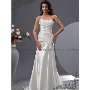 ウエディングドレス/ロングトレーン/スレンダーライン/花嫁衣裳/オフホワイト/tb567//サイズオーダードレス|t-bright