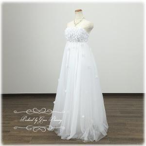 訳あり/ウエディングドレス エンパイアライン2次会 /5号・7号/ 即納/ロング ホワイト マタニティドレス 結婚式 /wd8862-2nan|t-bright