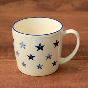 マグカップ 320cc  チェックStar ブルー (アウトレット) マグ コップ コーヒーカップ コーヒーマグ ティーカップ 食器 おしゃれ 洋食器|t-east