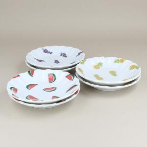 小皿 フルーツ柄 菊型 12cm 6枚セット (3柄×各2枚) プレート お皿 醤油皿 薬味皿 食器 おしゃれ 洋食器 かわいい 食器セット パーティー食器|t-east