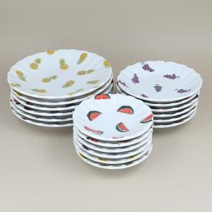 小皿バラエティーセット フルーツ柄 (3サイズ3柄×各2枚) 豆皿 取り皿 プレート お皿 醤油皿 薬味皿 食器 おしゃれ 洋食器 かわいい|t-east