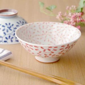 和食器 茶碗(内外たこ唐草 赤)お茶碗 花柄の茶碗 ちゃわん 和の食器 かわいい食器 飯碗 茶わん ライスボウル おしゃれ 磁器 日本製|t-east