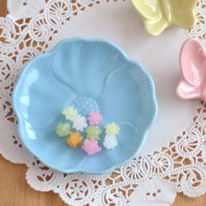 小皿 ブルー 青 パステルカラー お花の小皿 アウトレット込み  和食器 輪花 和皿 お皿 花型 プレート 椿 お菓子皿 豆皿 おしゃれ カラフル食器
