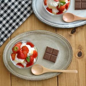 楕円皿 ドット  赤土ベージュ オーバルプレート21cm ケーキ皿 中皿 楕円皿 パン皿 サラダ皿 和食器 カフェ食器 お皿 おしゃれ かわいい|t-east