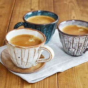 コーヒーカップ 和風の手造り しのぎ マグ マグカップ 日本製 美濃焼 スープカップ 和食器 カフェ食器 おしゃれ おもてなし こだわりの一品|t-east