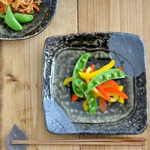 和食器 織部 石目 正角皿 18cm   和皿 角皿 取り皿 刺身皿 お皿 美濃焼 プレート 日本製 美濃焼 おもてなし 高級感 織部焼|t-east