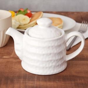 ポット急須 500cc ろくろ目 白マット 茶こし付 和食器(アウトレット) 急須 ポット 茶器 お茶 紅茶 ティーポット 大きいサイズ 大きめサイズ 白い食器 来客用|t-east