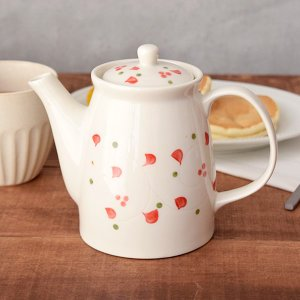 ティーポット 670cc うず点紋 茶こし付(アウトレット) 急須 ポット 茶器 お茶 紅茶 大きいサイズ 大きめサイズ 花柄 フラワー 白い食器 カフェ食器|t-east