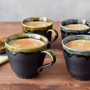商品説明 ブラックの部分は細かなグレーの粒がアクセントの、マットな質感のマグカップ。 渕には貫入が入...