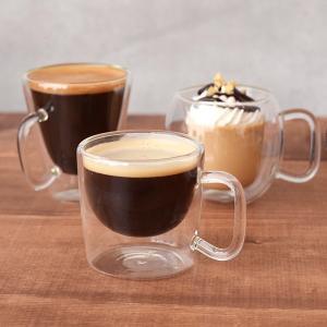 デミタスコーヒーカップ ダブルウォール 二重構造 耐熱ガラスマグカップ カップ コップ マグ コーヒ...