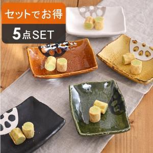 れんこんをモチーフにした小皿の5色セット。リアルなれんこんの柄が、和のカラーとマッチ。<br ...