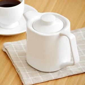 スクエア型ポット ※茶こしは付きません ホワイト  洋食器 白い食器 コーヒーポット デイリースタイル シンプル かわいい 日本製 美濃焼|t-east