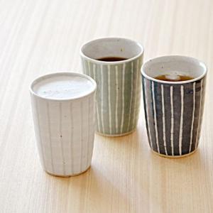 和食器 手造り 土物 タンブラー 焼酎カップ ビアカップ 酒器 タンブラー ストライプ フリーカップ コップ シンプル 和モダン おしゃれ かわいい t-east
