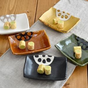 角小皿 和食器 蓮根 長角型  お皿 醤油皿 菓子皿 和皿 美濃焼 角皿 野菜柄 アウトレット食器 おしゃれ かわいい 日本製 美濃焼|t-east