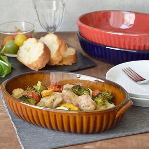 オーバルグラタン皿 24cm CAFEストライプ 洋食器 グラタン皿 耐熱皿 オーブン料理 オーブン対応 オーブンウェア カフェ風グラタン おうちカフェ カフェ食器|t-east