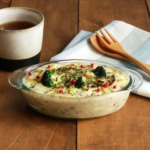 商品説明 耐熱ガラスのおしゃれなグラタン皿。 いつものオーブン料理や、残り物のリメイクグラタン料理も...
