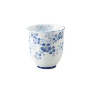 なでしこ ブルー ゆらぎ長湯呑      和食器 花柄食器 茶器 湯呑み おもてなし食器 業務用食器|t-east