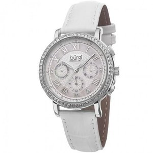 White Mother of Pearl Dial White LeatheR Strap Ladies Watch
