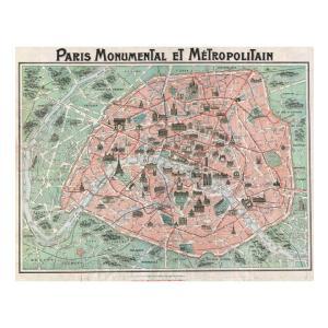 『アール・ヌーヴォー パリマップ Art Nouveau Paris Map 1920 』  のポスター サイズ91.5×61cm|t-home
