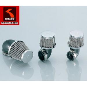 KITACO(キタコ)ノーマルキャブレター対応 汎用エアフィルター パワーフィルター(エルボ90°)φ34クロームメッキ【515-1000340】|t-joy