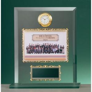 時計付ガラス製フォトフレーム楯 BM-8122 卒業記念品・卒団記念品 t-kisho