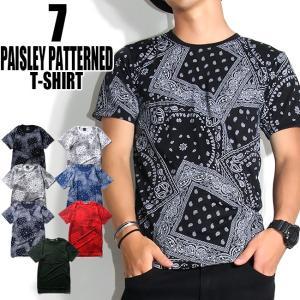 Tシャツ メンズ  半袖 ペイズリー柄  夏 カジュアル 大きいサイズ ストリート系 3カラー SからXXL