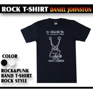 ロックtシャツ バンドtシャツ パンク ダニエル ジョンストン 黒 白 2 Mサイズ Lサイズ 黒色...