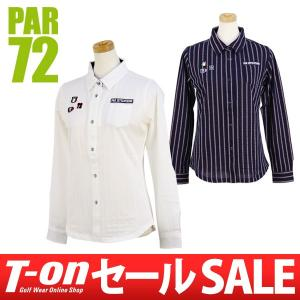 【30%OFFセール】PAR72 パー72 日本正規品 長袖ポロシャツ ストレッチ ストライプ柄ジャガード ロゴ刺繍 レディースゴルフウェア t-on