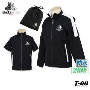 レインブルゾン メンズ ブラック&ホワイト Black&White   ゴルフウェア
