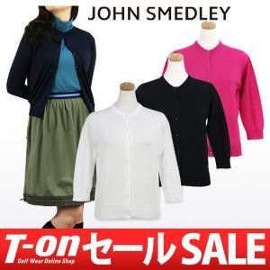 ジョンスメドレー 日本正規品 JOHN SMEDLEY 7分袖クルーネックカーディガン ゴルフウェア レディース|t-on