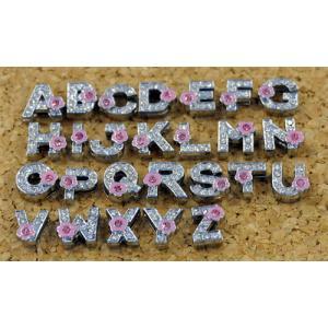 ライトピンク花付き アルファベット|t-parts